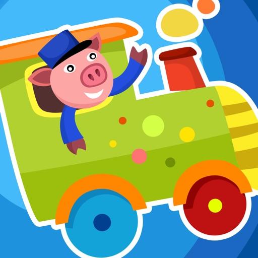 Actif! Jeu Pour Les Enfants À Apprendre et À Jouer Avec la Gare et Animaux