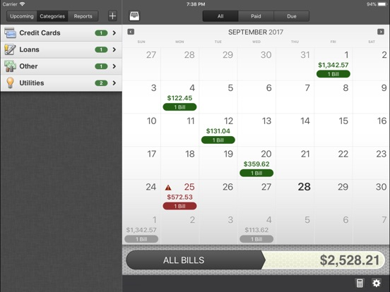 BillMinder 3 for iPad Screenshots