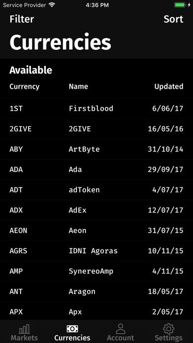 Screenshots of BTRX: A Bittrex client for iPhone