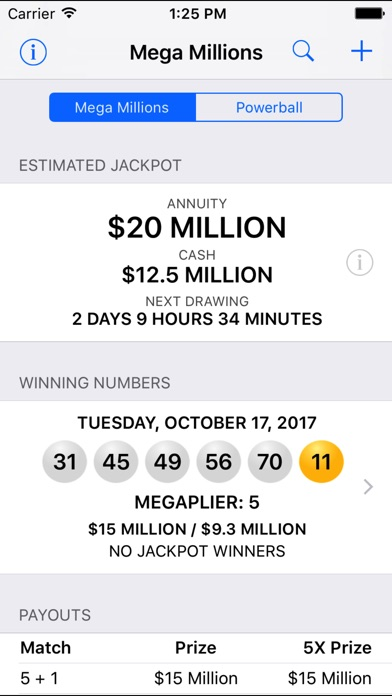 Mega Millions + Powerball screenshot 1