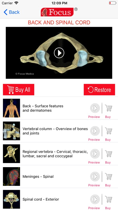 Back and Spinal cord screenshot two