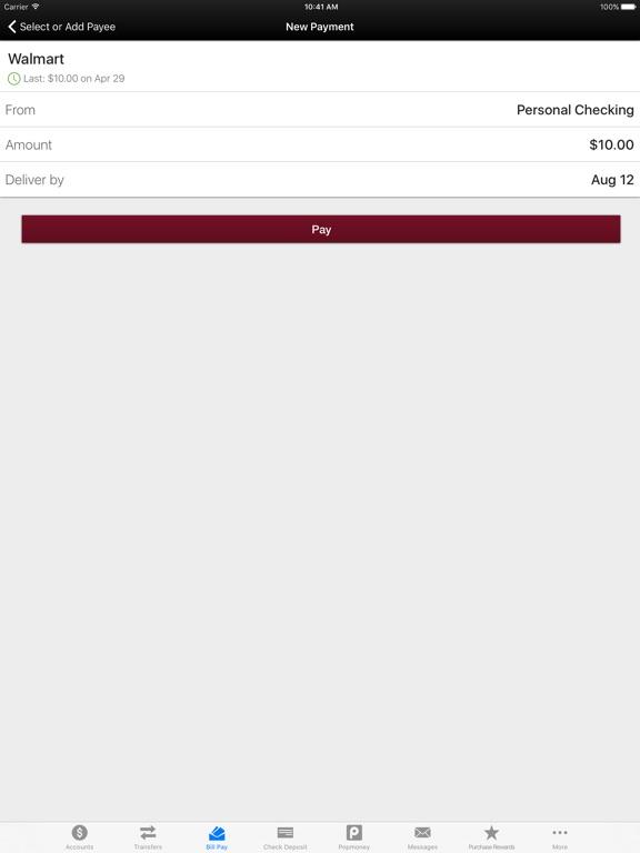 Ulster Savings Bank Mobile Banking iPad