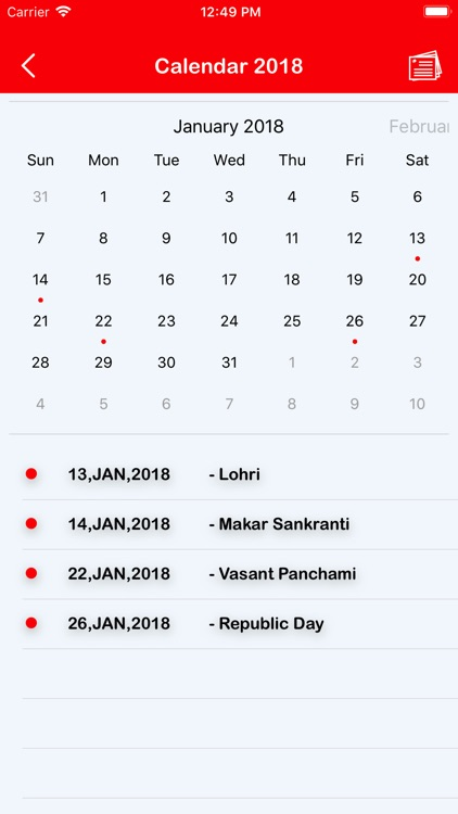 january 2018 calendar with indian holidays
