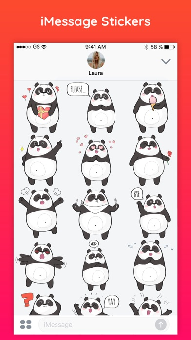 cute panda text chat funny emoji stickers pack app. Black Bedroom Furniture Sets. Home Design Ideas