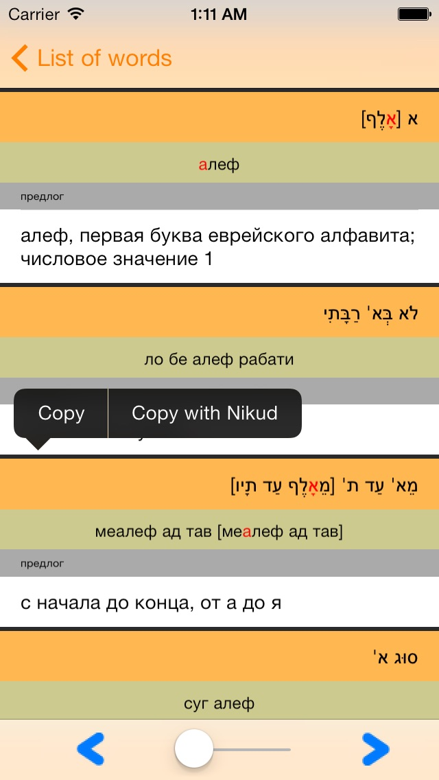 IRIS - mobile hebrew russian hebrew dictionary Screenshot 2