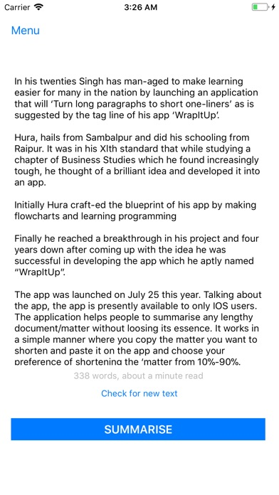 wrapitup text summarizer acirc cent on the app store iphone screenshot 3