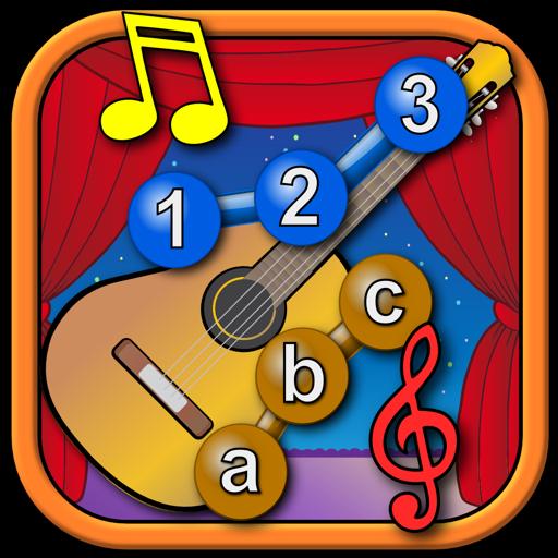 孩子们音乐仪器连接点的拼图 — — 学习 ABC 数字形状和幼儿为