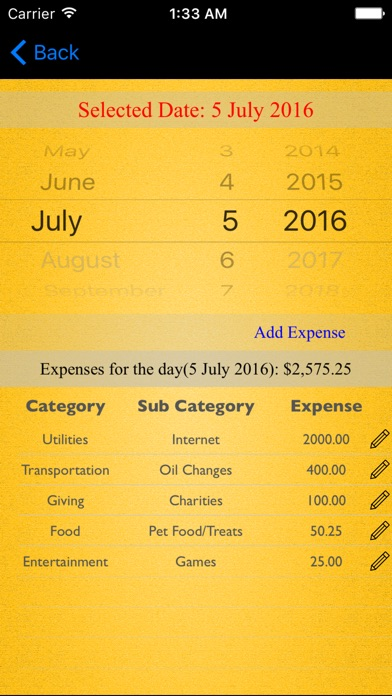 Monthly Expenses Screenshots