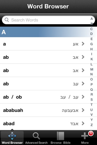 Hebrew Bible Dictionary screenshot 1