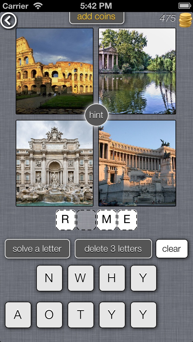 Screenshot of 4 foto 1 posto (4 Pics 1 Place) - gioco di supposizioni basate con le immagini Viaggiato / World Travel Picture Quiz and Trivia Game1