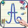 Aprenda a escrever letras cursivas do alfabeto em letras maiúsculas e minúsculas com os sons em Inglês e Francês - básico para crianças
