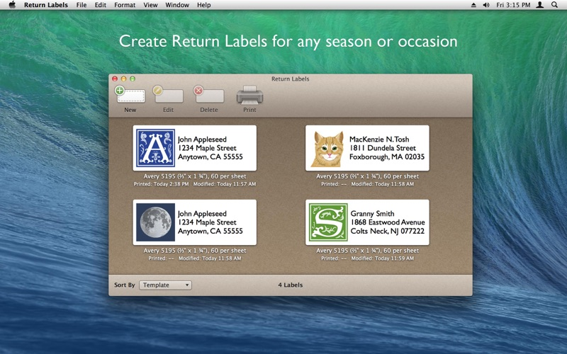 avery template 5523 - return labels on the mac app store