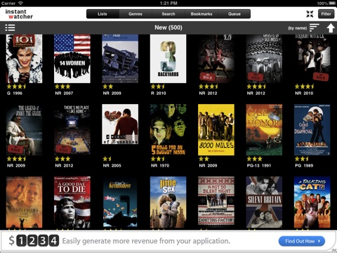 InstantWatcher  -- for iPad screenshot 1