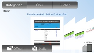 Screenshot von Vorlagen für Numbers2