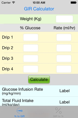 Multidrip Glucose Infusion Rate Calculator screenshot 1