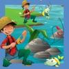 Un Gioco di Pescatori di Apprendimento Per i Bambini Piccoli: Insegnamento Ordinamento e Puzzle Con Gli Animali
