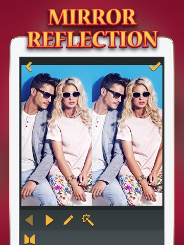 Mirror reflection photo edit or split and clone pics for Double mirror effect