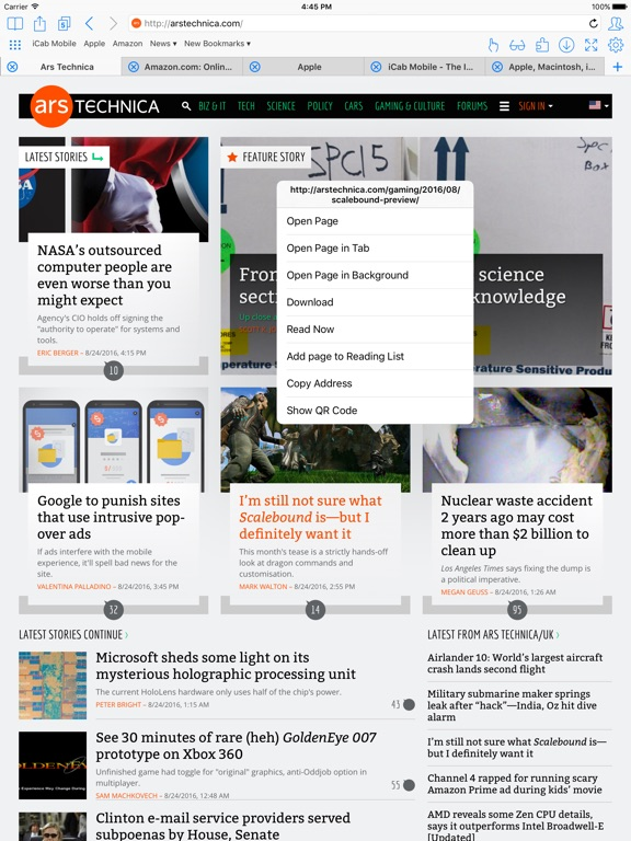iCab Mobile (Web Browser) Screenshots
