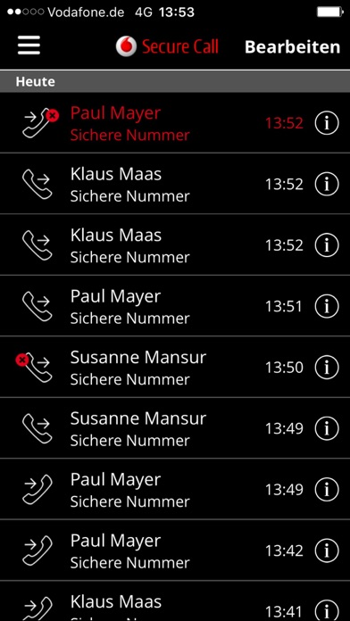 Screenshot von Vodafone Secure Call3