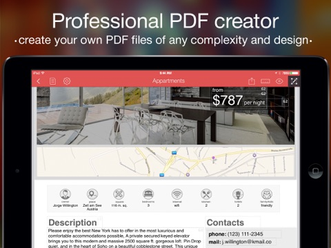 PDF Creator - professional PDF documents, invoices, postcards, resume Screenshot