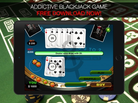 Aarghh! PIRATE BlackJack KING - Play the Atlantic City and Online Casino Card Game with Real Las Vegas Odds for Free !-ipad-1