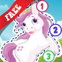 Free Kids Ponies Puzzle Teach me Tracing & Counting - Learn about pink ponies, cute fairies and princesses icon