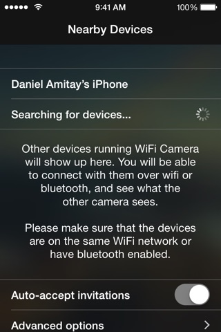 WiFi Camera - Wirelessly connect your iPhone/iPad cameras screenshot 1