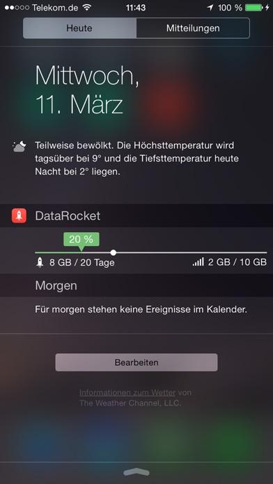 DataRocket - Datenverbrauch und Datenzähler als Data Widget für Telekom Vodafone O2 und E-Plus EPlus Screenshot