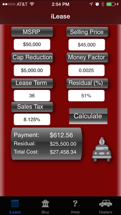 Ileasemycar Loan And Lease Payment Calculator On The App Store