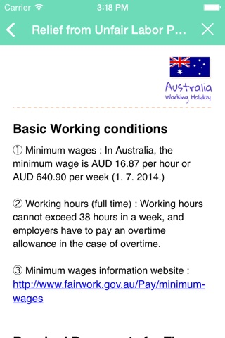 Australia Working Holiday Note screenshot 4
