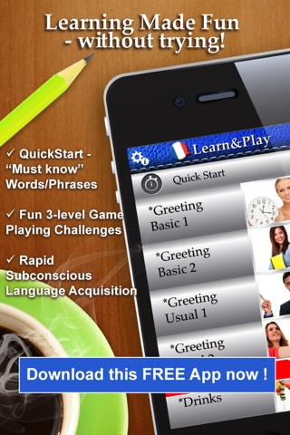 Learn&Play French FREE ~easier & fun! This quick, powerful gaming method with attractive pictures is better than flashcards screenshot 1