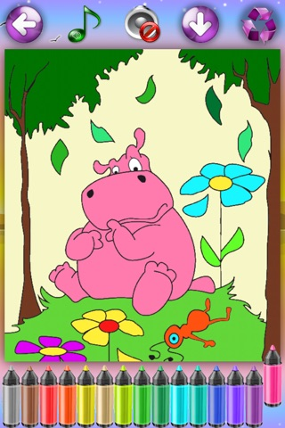 Coloring Pages with Animals for Girls & Boys - Painting Sheets with Tomcat, Hamster & Hippo for Kids screenshot 1
