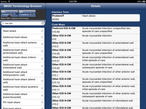 Screenshots of IMO Terminology Browser for iPad