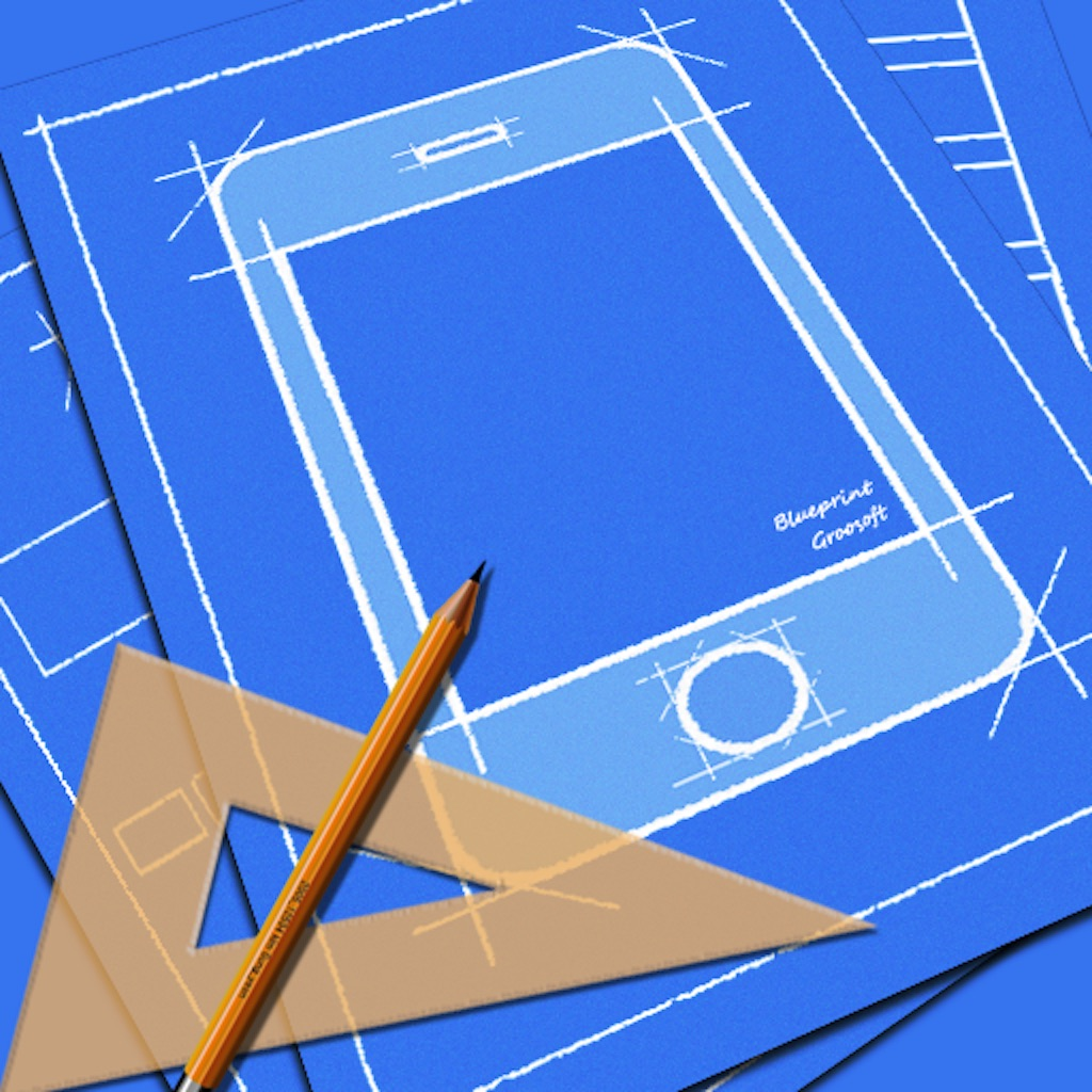 Blueprint ios mockup on the app store for App for blueprints