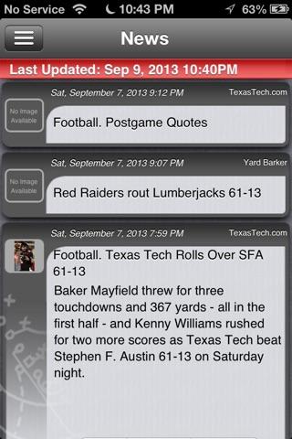 Texas Tech Football Live screenshot 1