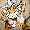 西部荒野的著色書兒童: 學畫畫 牛仔和印第安人