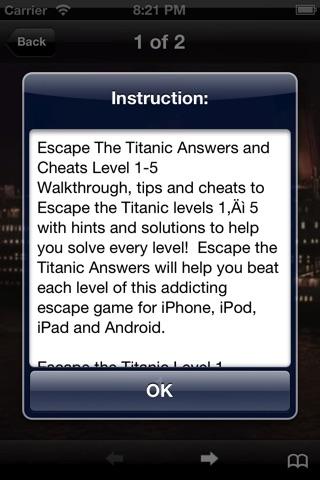 Cheat for Escape the Titanic Devious Escape Puzzler - Walkthrough Answer and Guide Quiz screenshot 1
