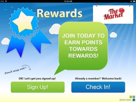 Screenshot of Echo Loyalty Rewards Program Check-In App