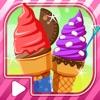 Sugar Cone Creator  — Soft Creamy Ice Cream dessert  on sunny beach