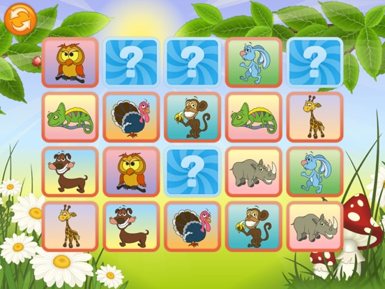 Животные - Найди одинаковые картинки на iPad