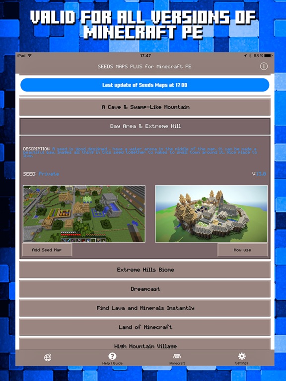 iPad Screenshot 2. Seeds for Minecraft PE   Free Seeds Pocket Edition on the App Store