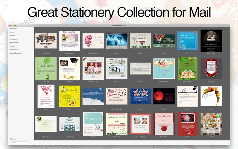 Stationery for Mail on the Mac App Store