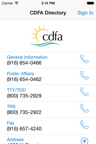 CDFA Directory screenshot 1