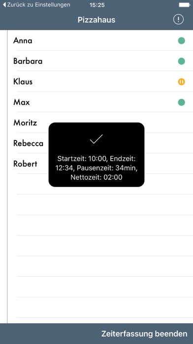 Screenshot von Papershift Stempeluhr5