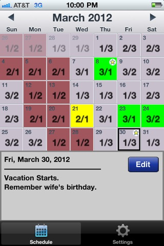 CopApp ! Calendar Schedule Repeating Shift App screenshot 1
