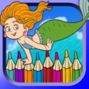 sea animal little mermaid coloring book drawing painting kids - Little Mermaid Coloring Book