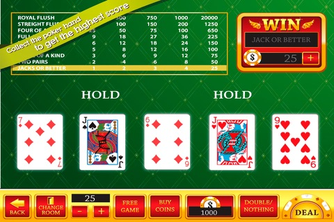 Red Video Poker : 1 2 32 Decode Jackpot Casino Game screenshot 3