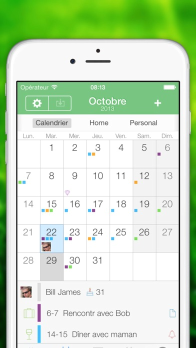 Screenshot Calendrier Extrême