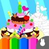 kids create coloring book games - making cake