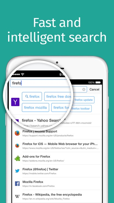 Screenshots of Firefox web browser for iPhone